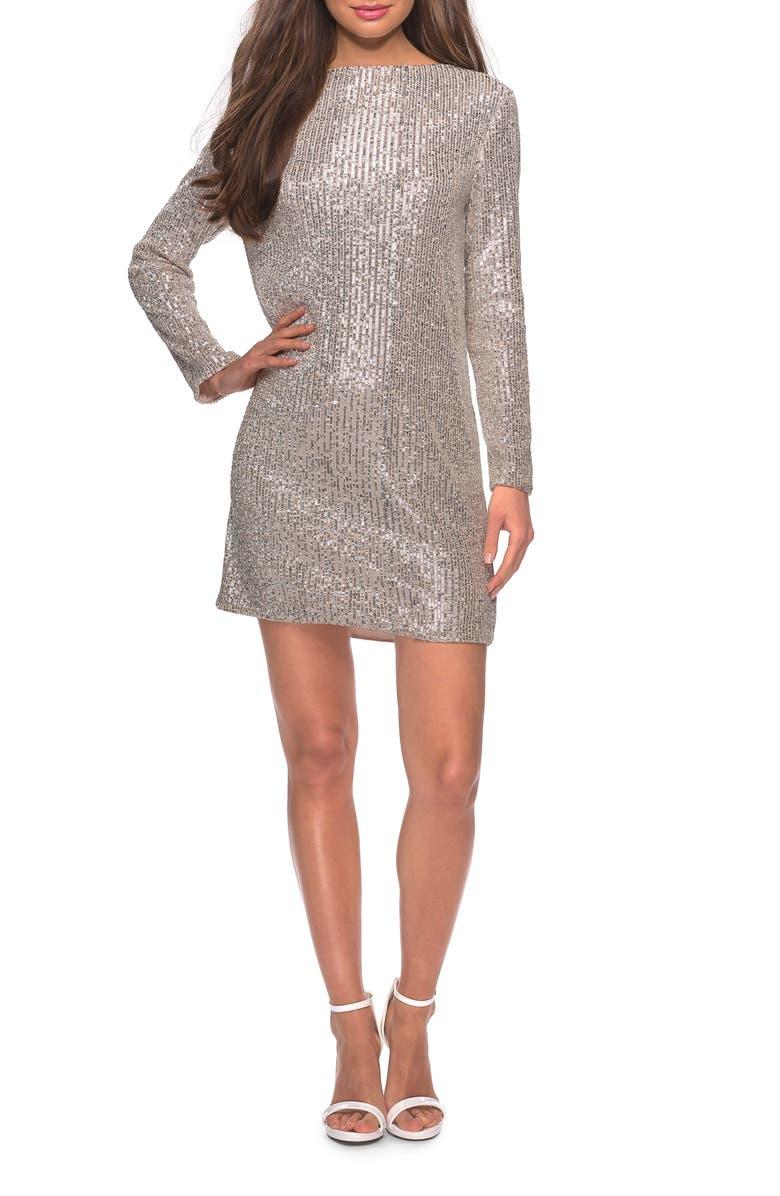 LA FEMME Long Sleeve Sequin Stripe Cocktail Shift Dress, Main, color, LIGHT SILVER