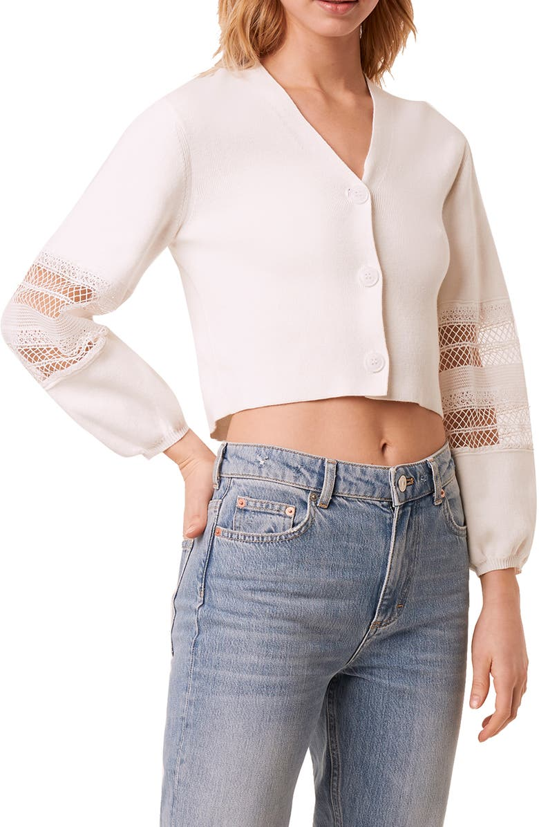 FRENCH CONNECTION Kaya Lace Mix Crop Cardigan, Main, color, SUMMER WHITE