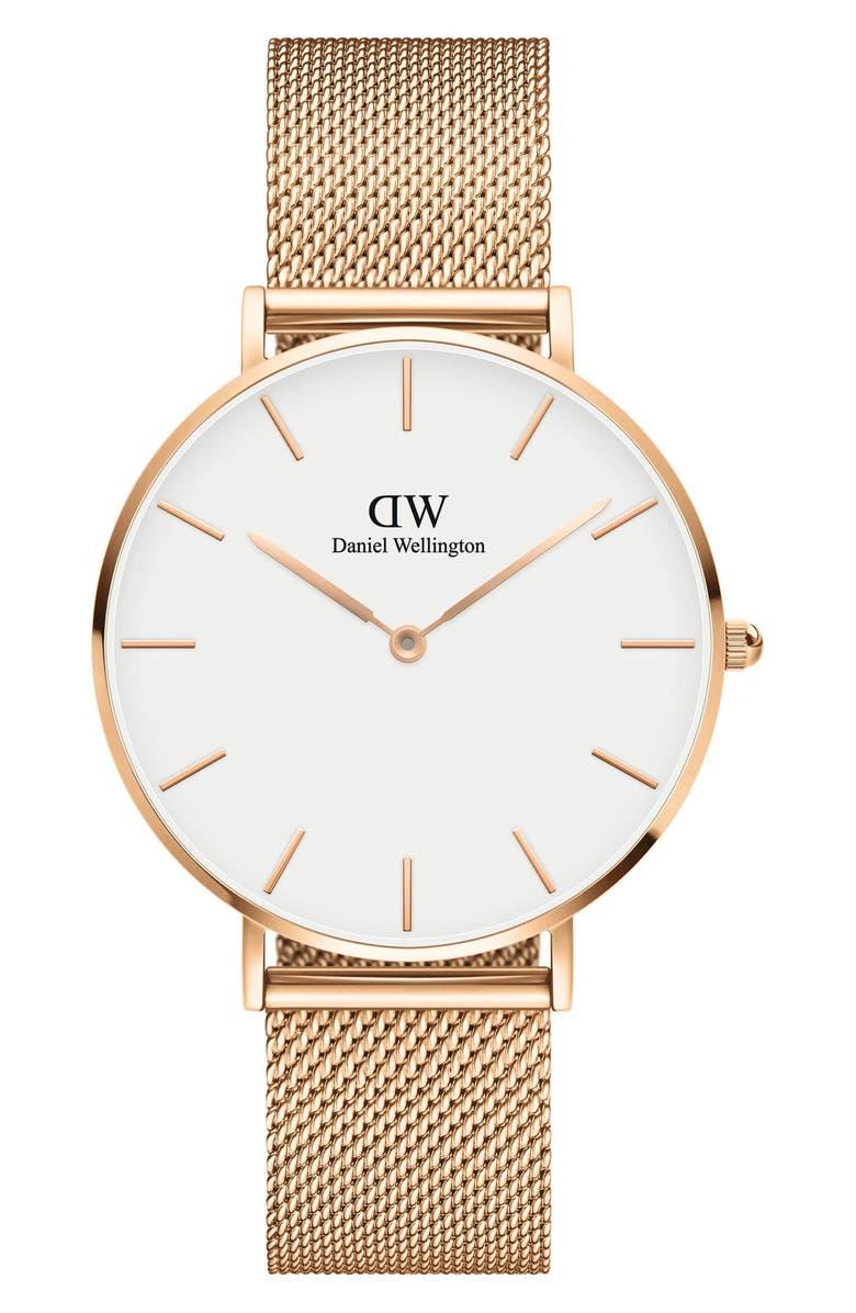 DANIEL WELLINGTON Petite Melrose Mesh Strap Watch, 36mm, Main, color, ROSE GOLD/ WHITE