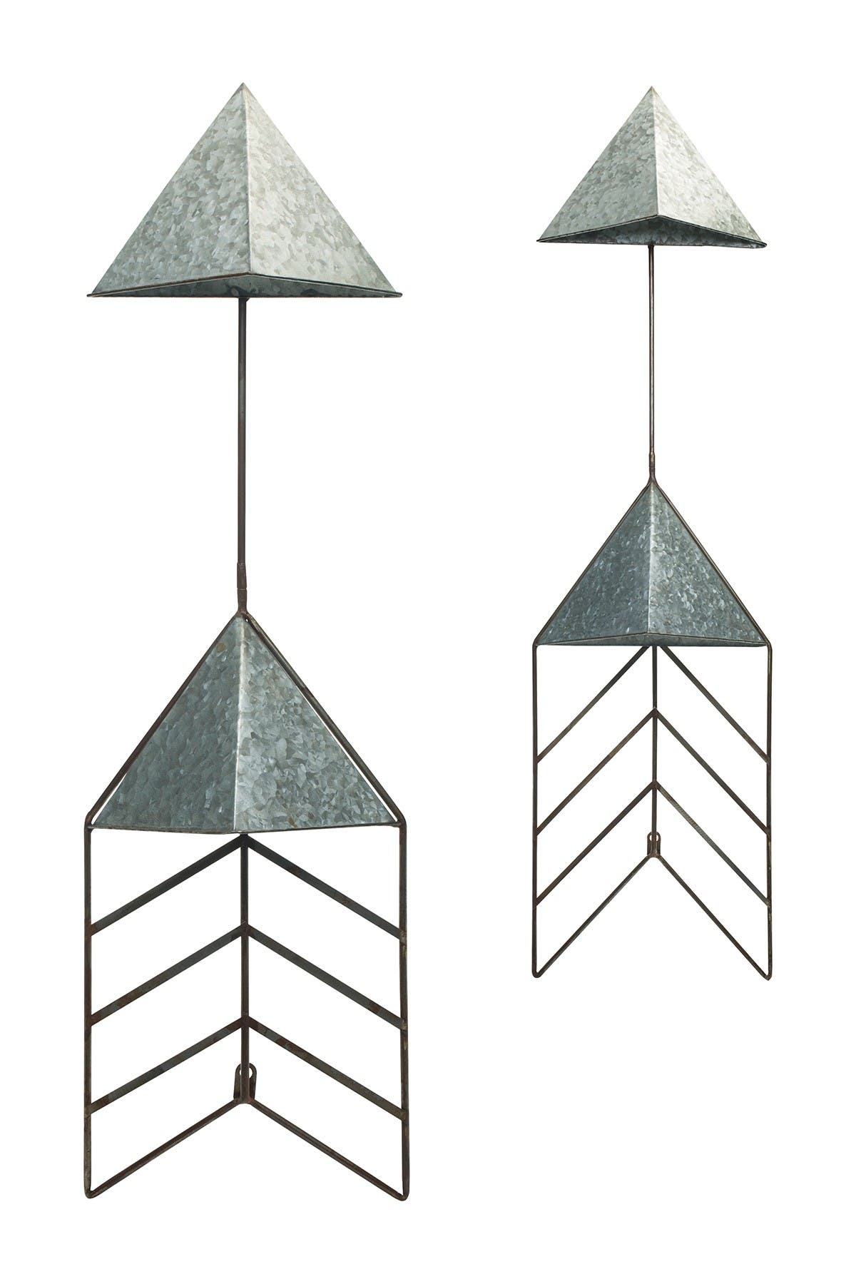 Image of Transpac Metal Galvanized Arrow Planter - Set of 2