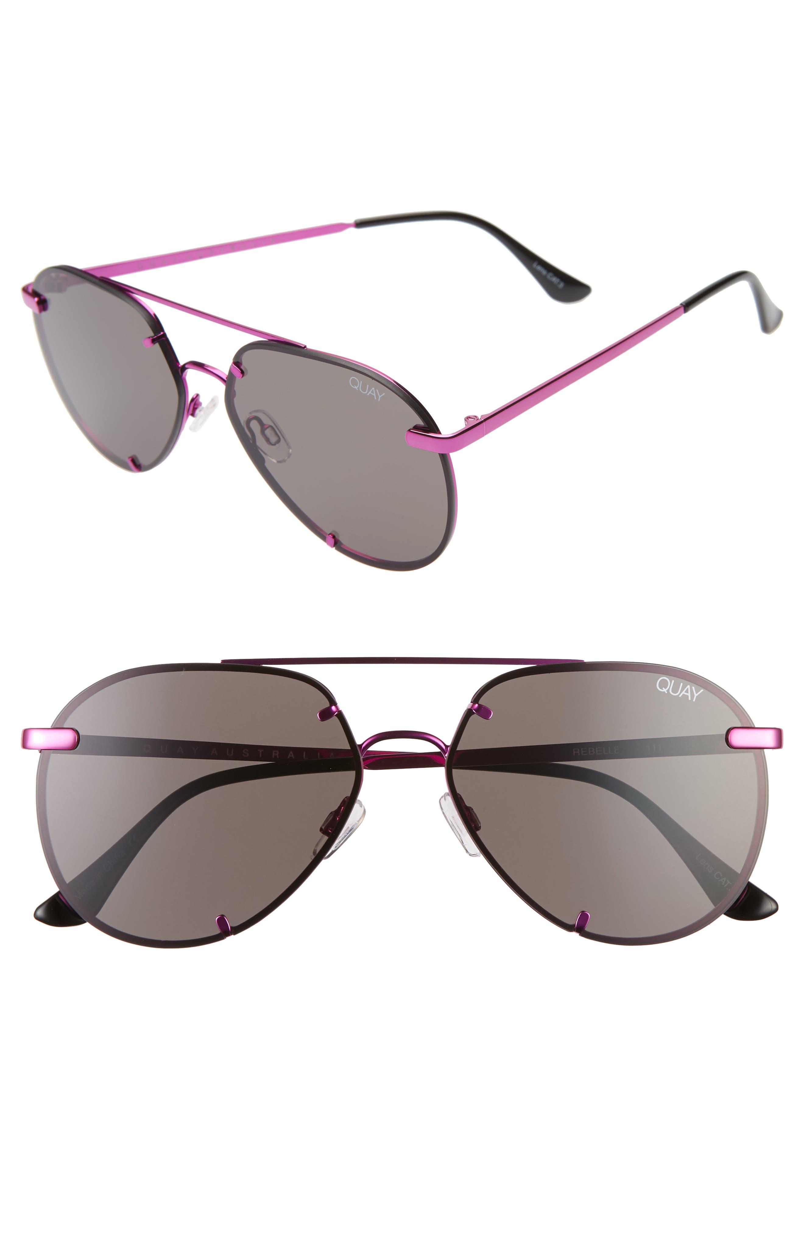 Quay Australia Rebelle 60Mm Aviator Sunglasses - Smoke/ Pink