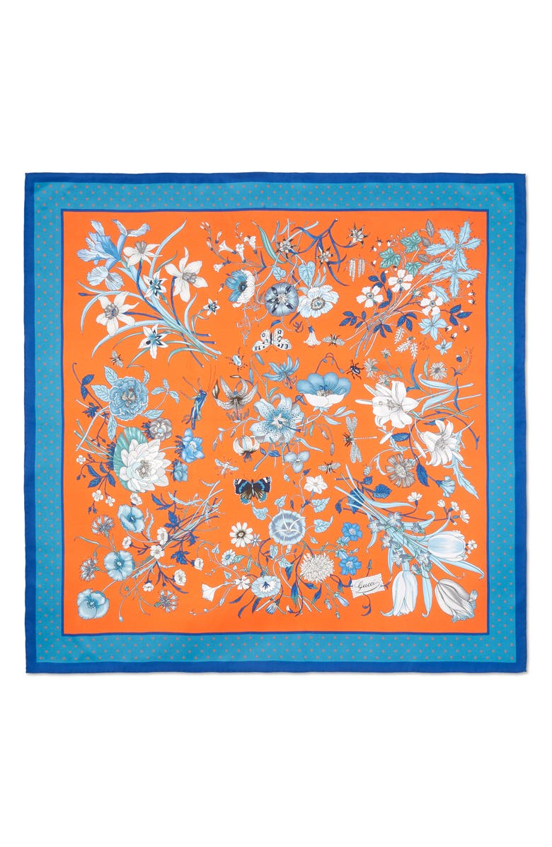 GUCCI Floral & Star Print Silk Scarf, Main, color, FLAME/ SKY BLUE