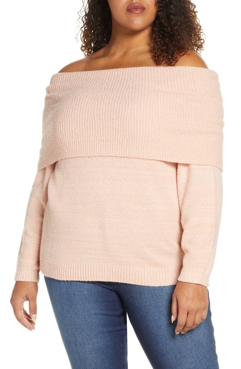 CASLON<SUP>®</SUP> Metallic Convertible Neck Sweater, Main, color, PINK SMOKE