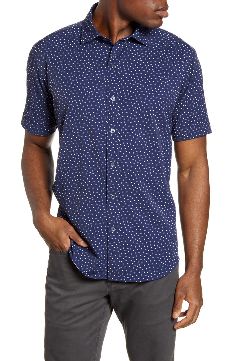 BUGATCHI Shaped Fit Stretch Short Sleeve Button-Up Shirt, Main, color, MIDNIGHT