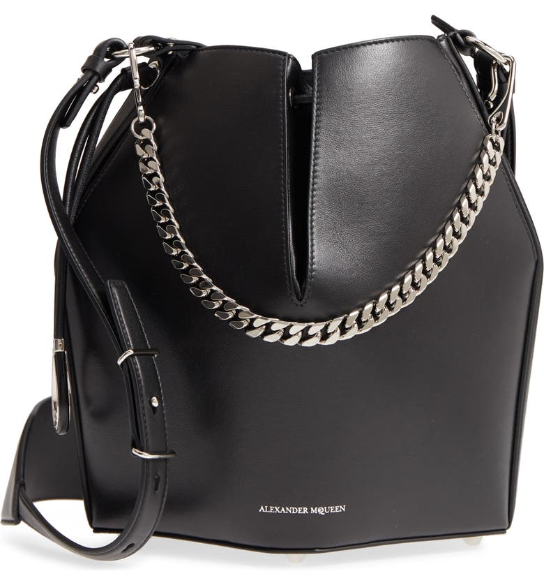 ALEXANDER MCQUEEN Leather Bucket Bag, Main, color, 001
