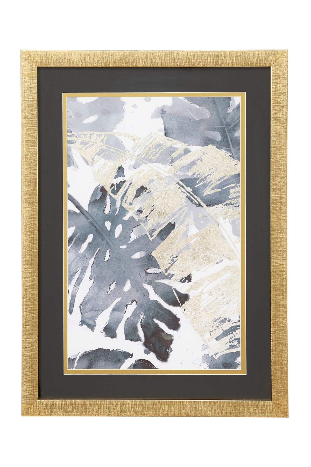 Willow Row Contemporary Decor Gold & Gray Palm Leaf Watercolor Print In Rectangular Gold Wood Frame - 15.5\\\
