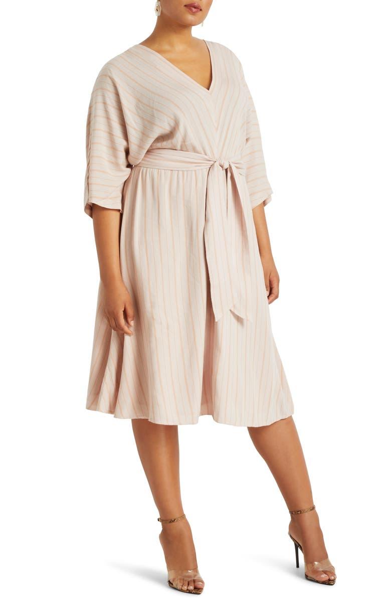 ELOQUII Stripe Dolman Sleeve Dress, Main, color, 650