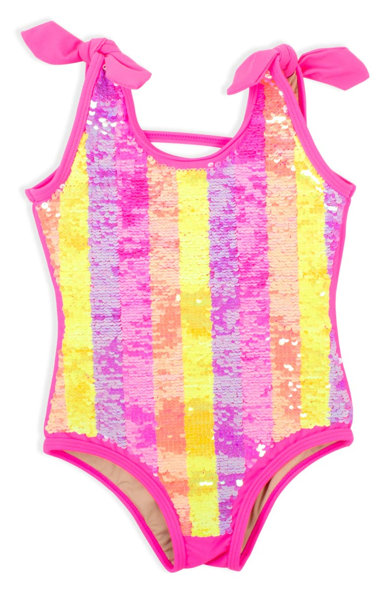 SHADE CRITTERS Flip Sequin Stripe One-Piece Swimsuit, Main, color, MULTI