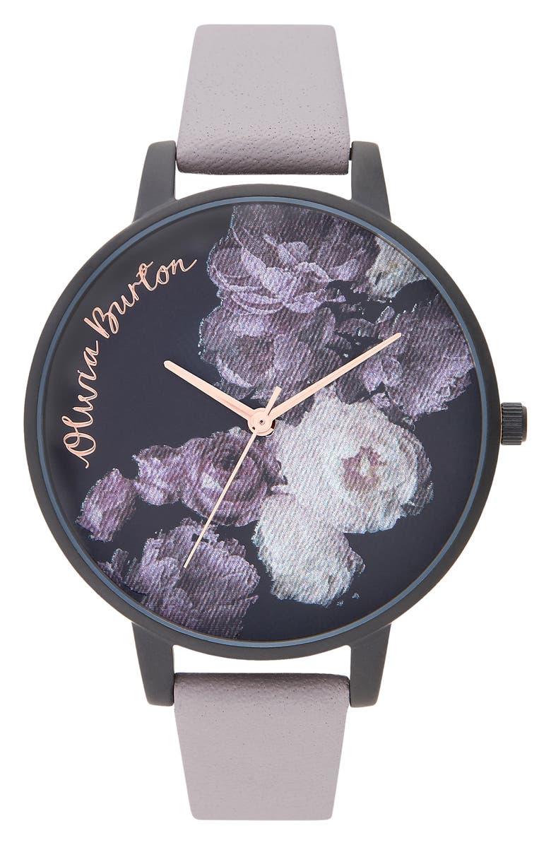 Olivia Burton Fine Art Leather Strap Watch, 38mm | Nordstrom