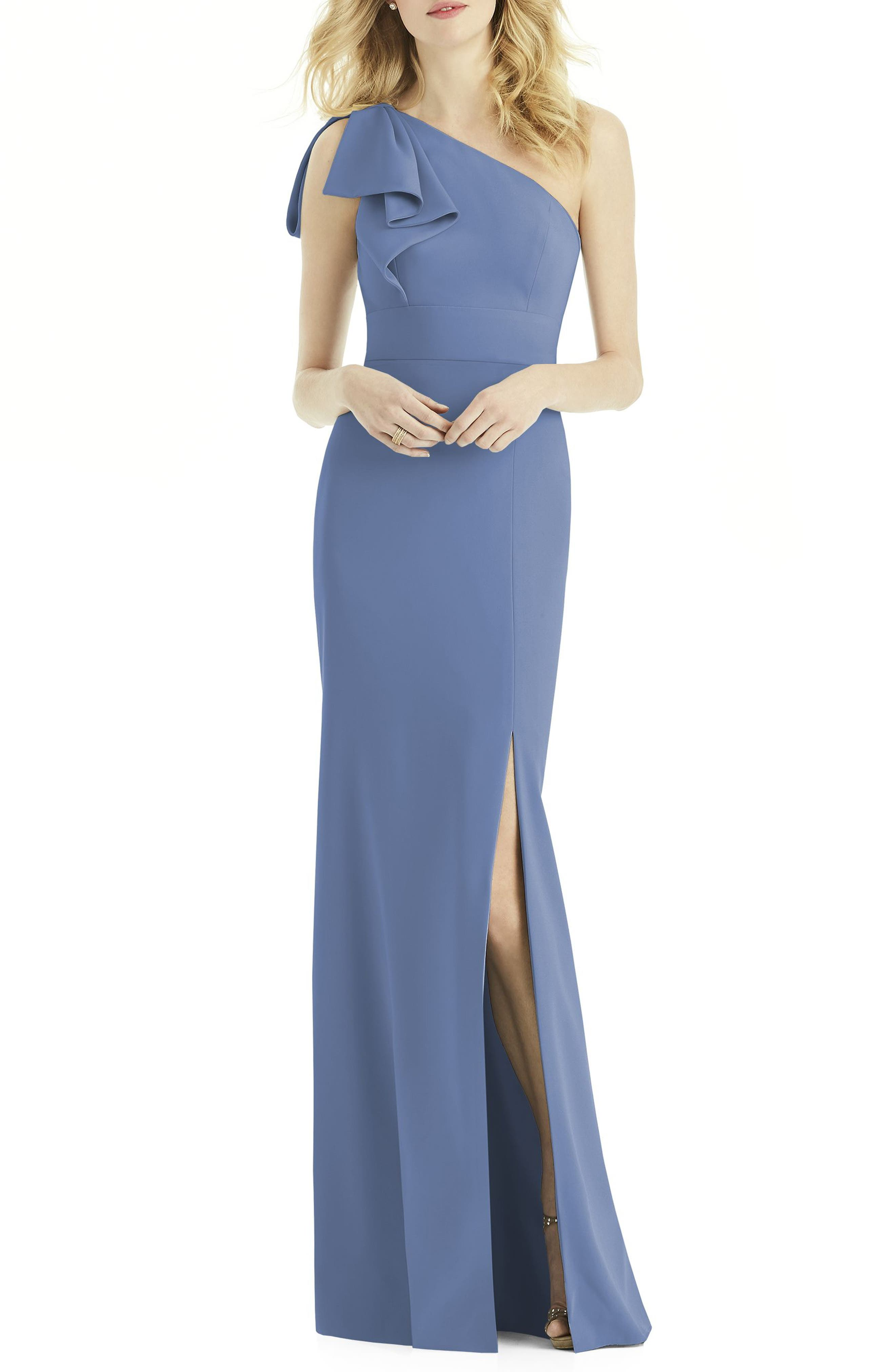 After Six Bow One-Shoulder Gown, Blue