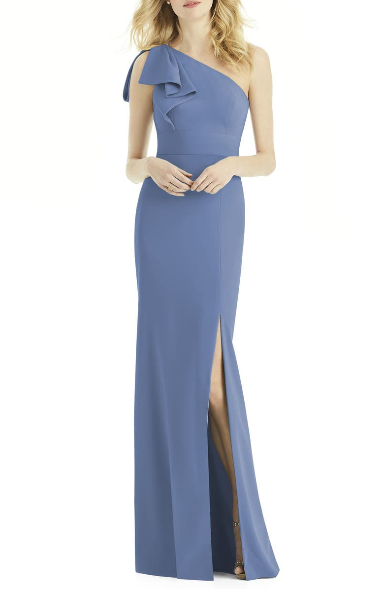 AFTER SIX Bow One-Shoulder Gown, Main, color, LARKSPUR