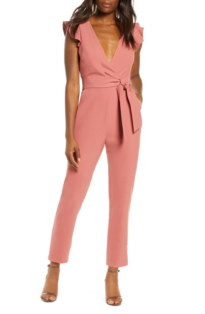 ADELYN RAE Cai Ruffle Cap Sleeve Jumpsuit, Main, color, DUSTY PINK