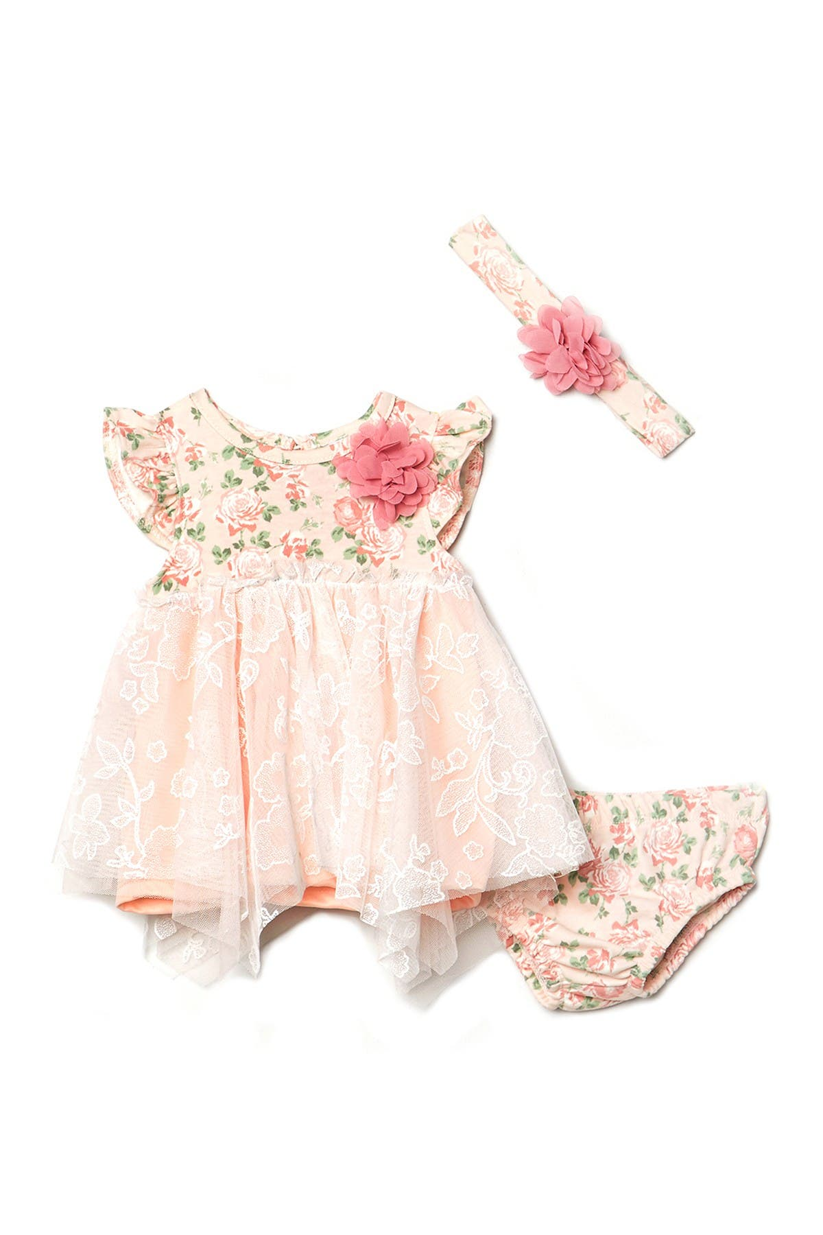 Image of Nicole Miller Lace & Floral Handkerchief Dress, Headband, & Bloomers Set