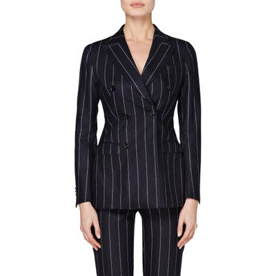 Suistudio Cameron Pinstripe Double Breasted Wool Suit Jacket, US / 4 - Blue