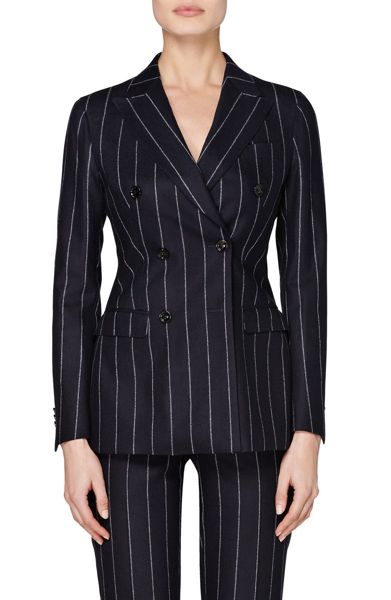 SUISTUDIO Cameron Pinstripe Double Breasted Wool Suit Jacket, Main, color, NAVY CHALKSTRIPE