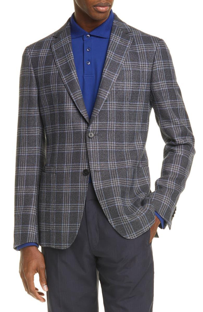 Z ZEGNA Trim Fit Plaid Wool & Linen Sport Coat, Main, color, CHARCOAL