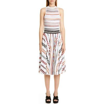 Missoni Stripe Pleat Sleeveless Knit Dress, US / 40 IT - White