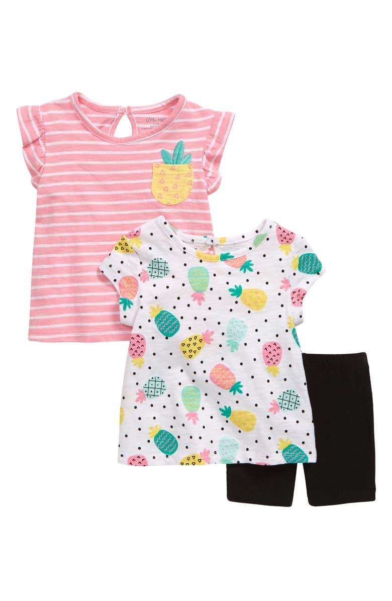 LITTLE ME Pineapple Tops & Shorts Set, Main, color, PINK MULTI