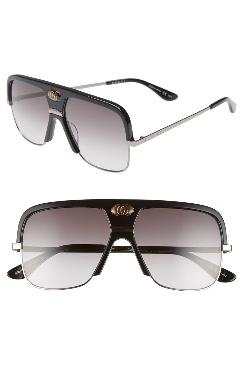 GUCCI 59mm Navigator Sunglasses, Main, color, 001