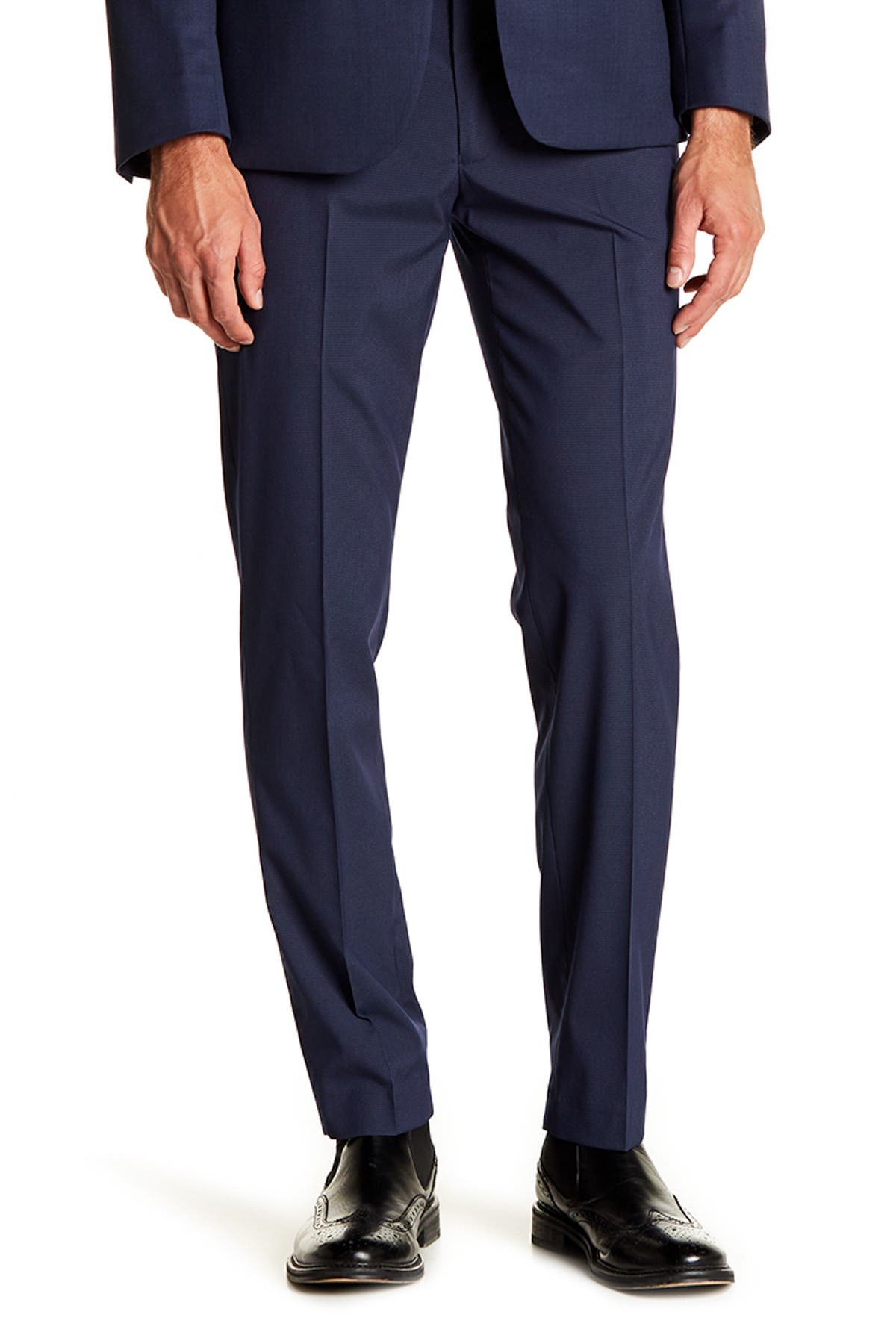 """Image of Louis Raphael Stretch Micro Check Print Trousers - 30-34"""" Inseam"""