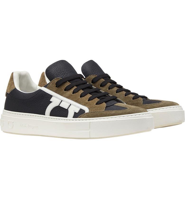SALVATORE FERRAGAMO Borg Sneaker, Main, color, NERO/ KHAKI GREEN/ WHITE