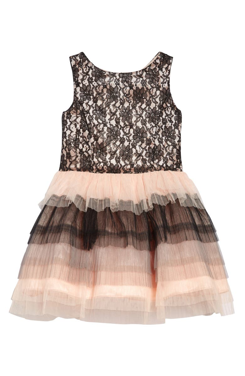 FRAIS Lace & Tulle Tiered Party Dress, Main, color, BLACK