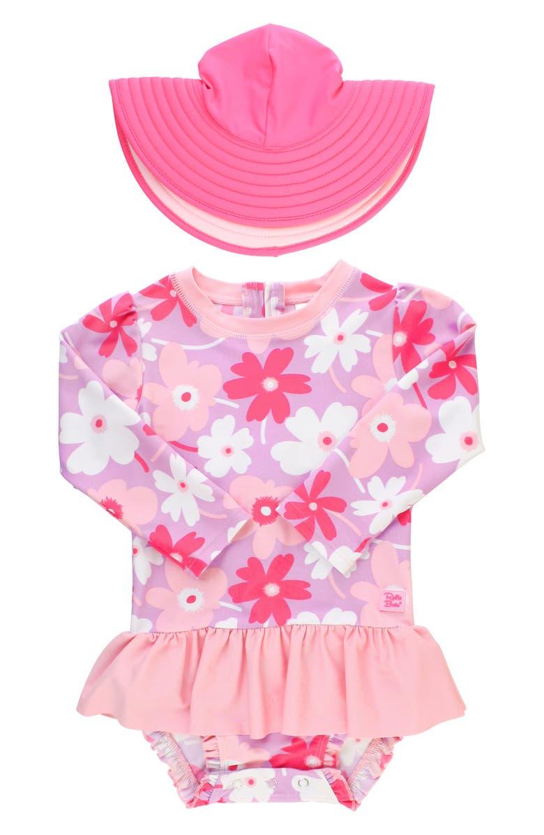 RUFFLEBUTTS Happy Petals One-Piece Rashguard Swimsuit & Hat Set, Main, color, 650