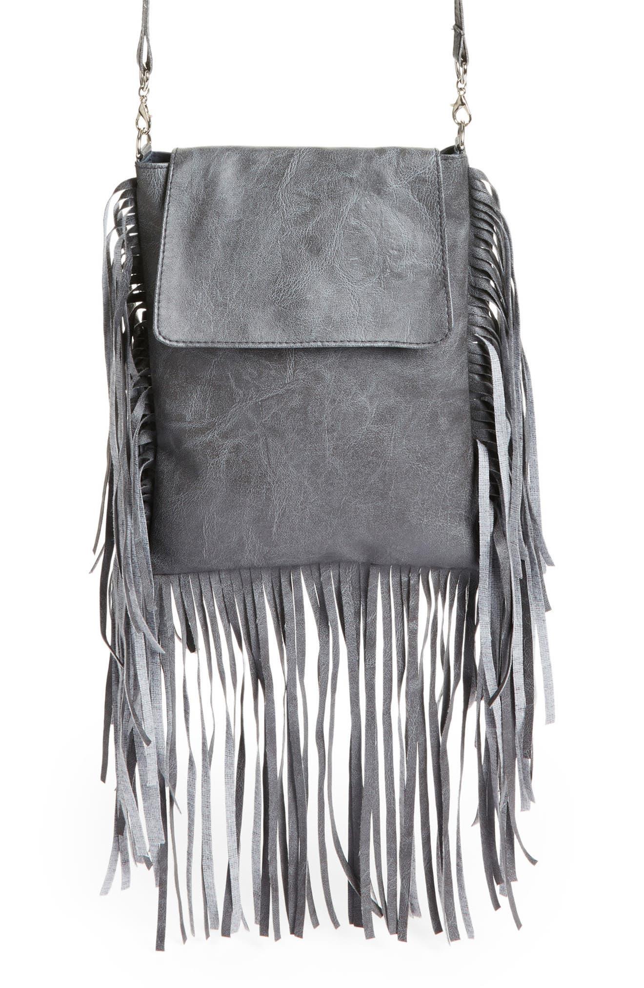 Fringe Faux Leather Crossbody Bag