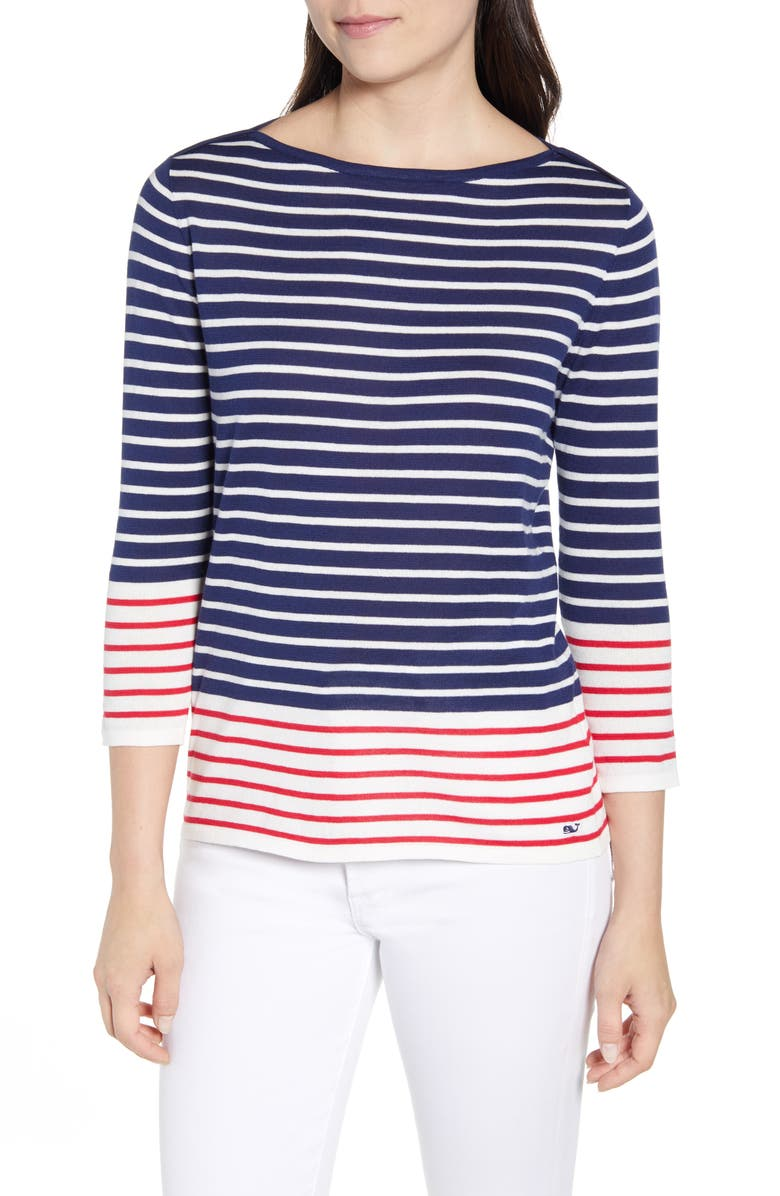 VINEYARD VINES Americana Stripe Boatneck Top, Main, color, DEEP BAY