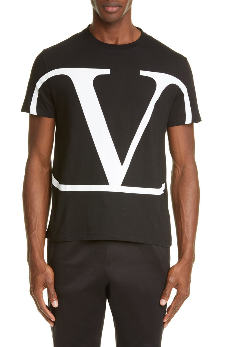 VALENTINO V-Logo T-Shirt, Main, color, BLACK/ WHITE