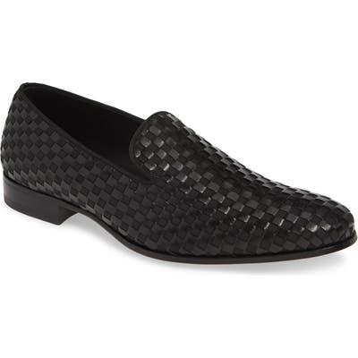 Mezlan Caba Woven Venetian Loafer, Black