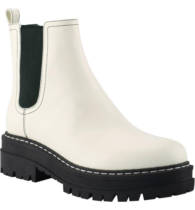 MARC FISHER LTD Padmia Chelsea Boot, Main, color, CHIC CREAM/ BLACK LEATHER