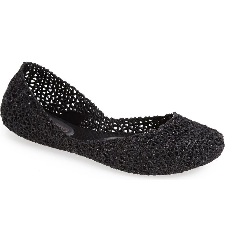 MELISSA 'Campana Papel VII' Jelly Flat, Main, color, BLACK GLITTER
