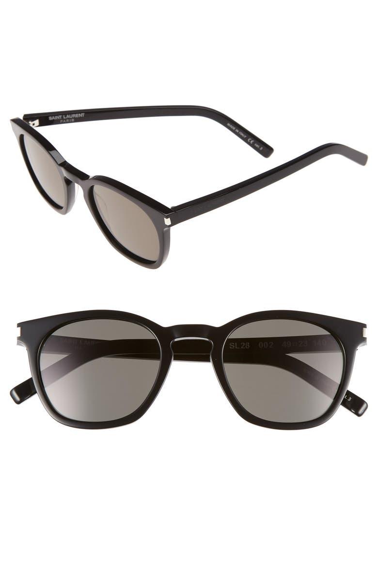SAINT LAURENT 49mm Sunglasses, Main, color, 001
