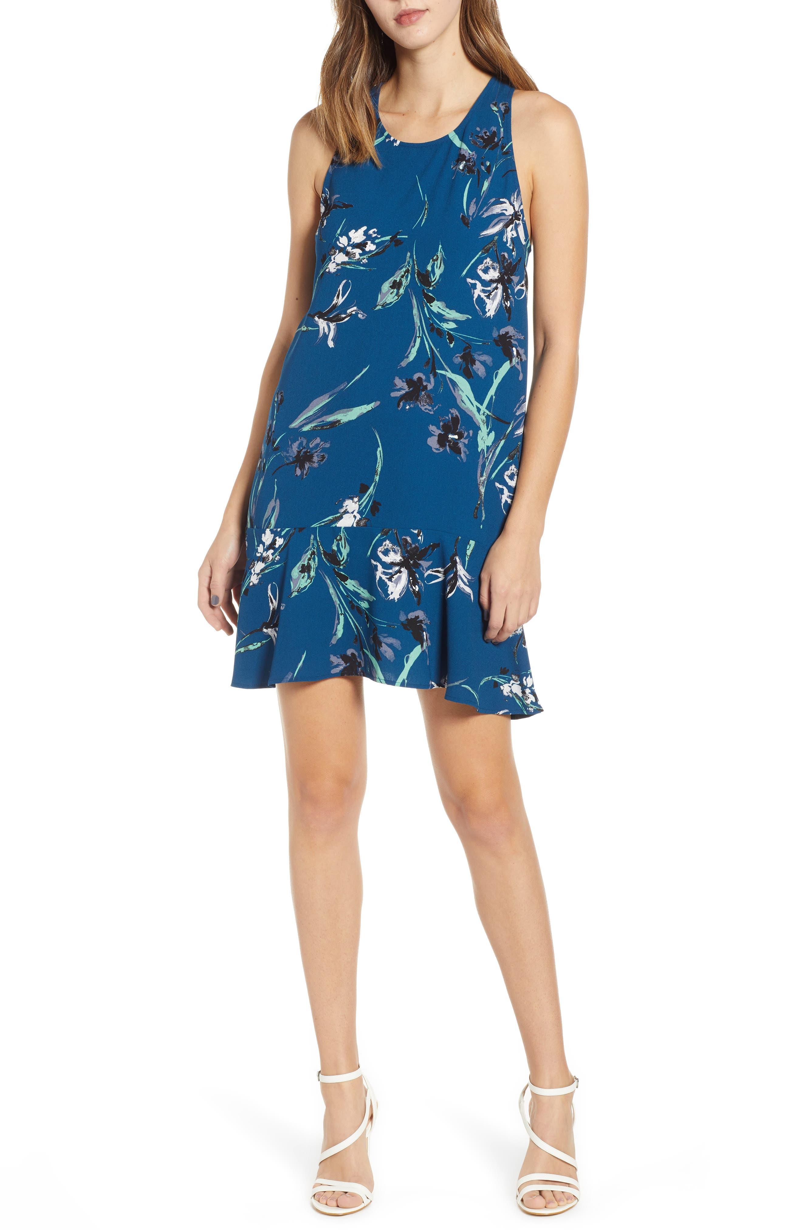 Leith Flounce Hem Dress, Blue