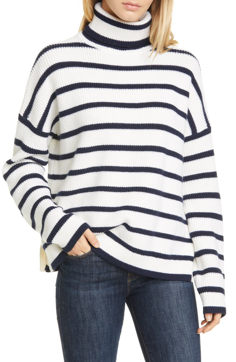LA LIGNE Stripe Merino Wool Turtleneck Sweater, Main, color, CREAM/ NAVY