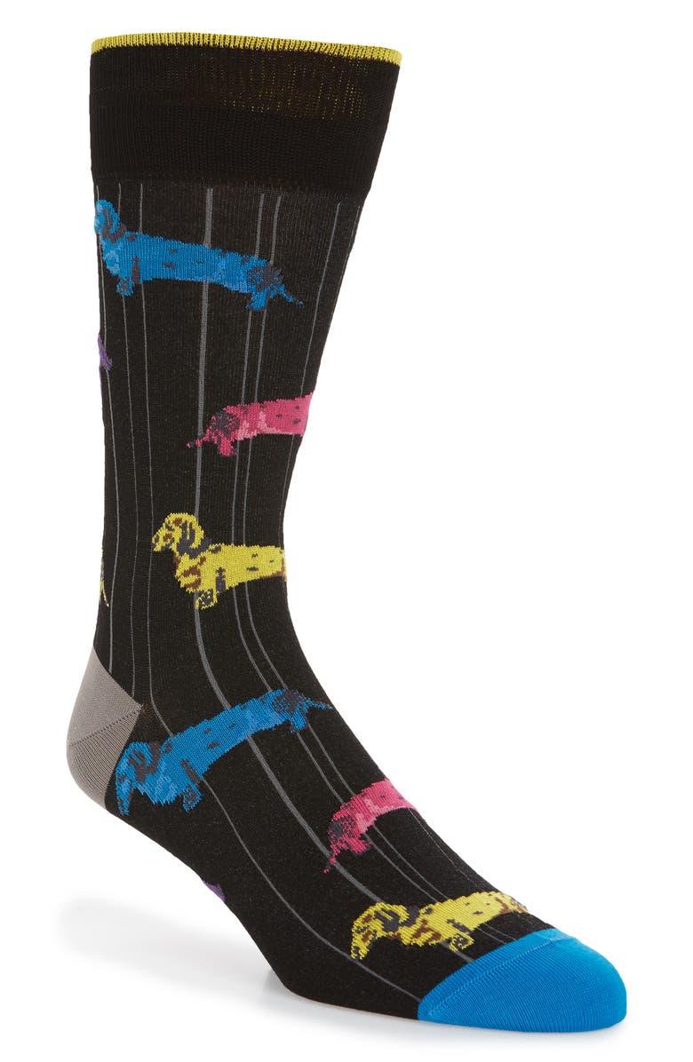 BUGATCHI Dachshund Socks, Main, color, BLACK
