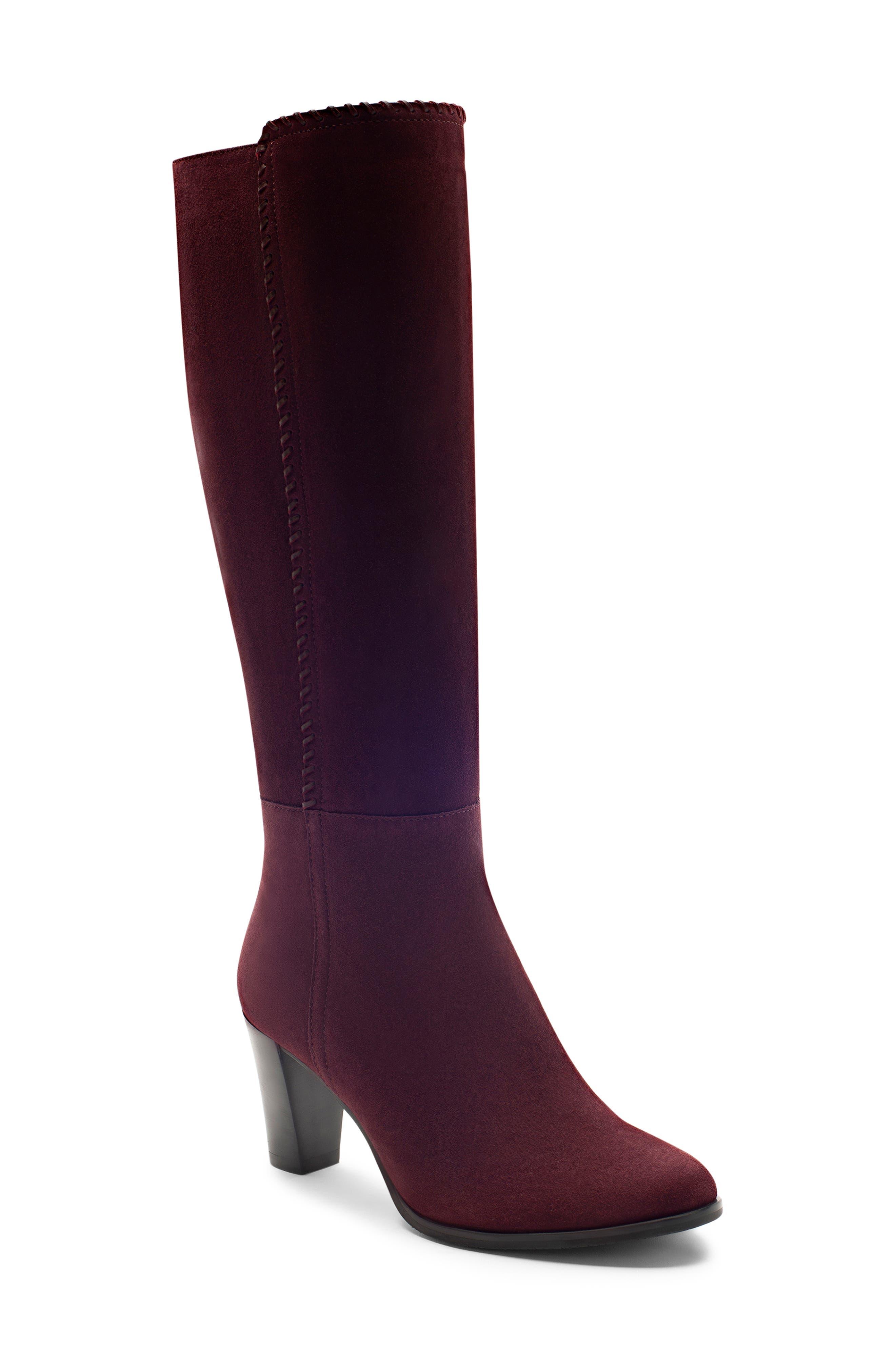 Blondo Edith Knee-High Waterproof Suede Boot- Burgundy