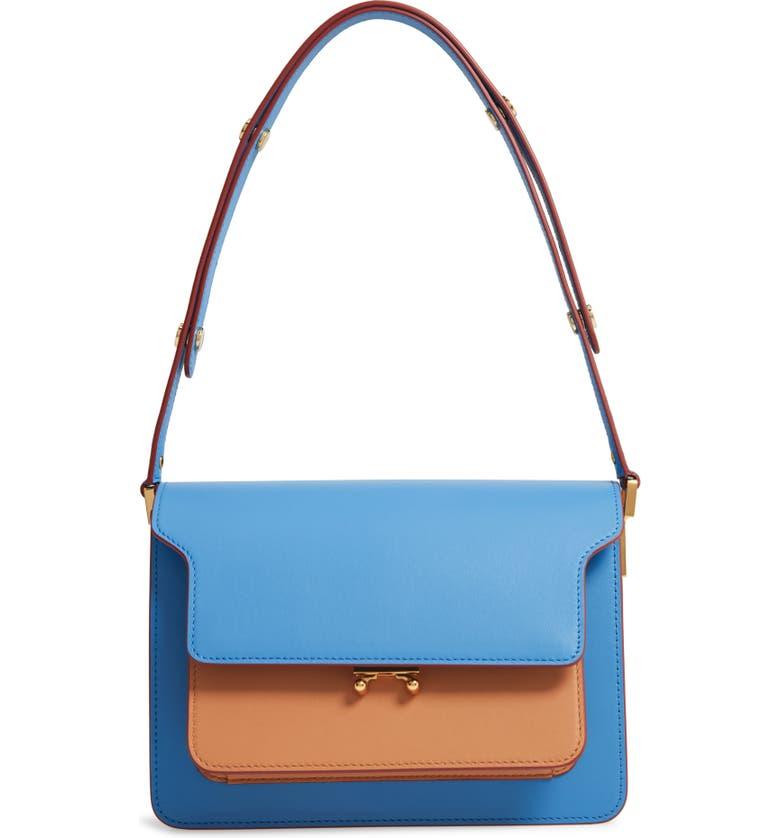 MARNI Medium Trunk Colorblock Leather Shoulder Bag, Main, color, AZURE/ STRAW