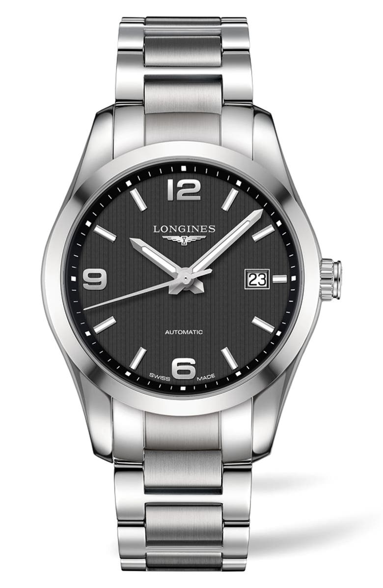 LONGINES Conquest Classic Automatic Bracelet Watch, 40mm, Main, color, SILVER/ BLACK/ SILVER