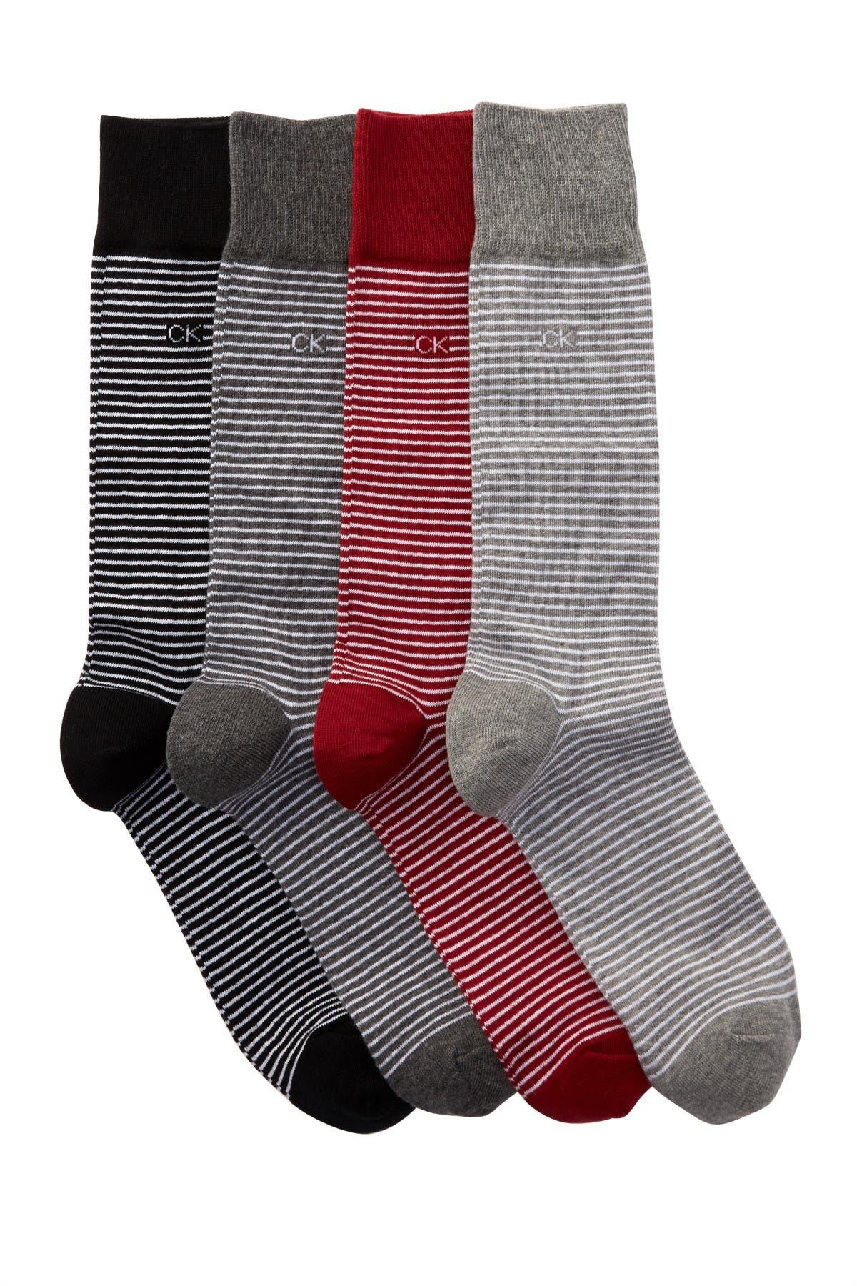 Image of Calvin Klein Fine Stripe Crew Socks - Pack of 4