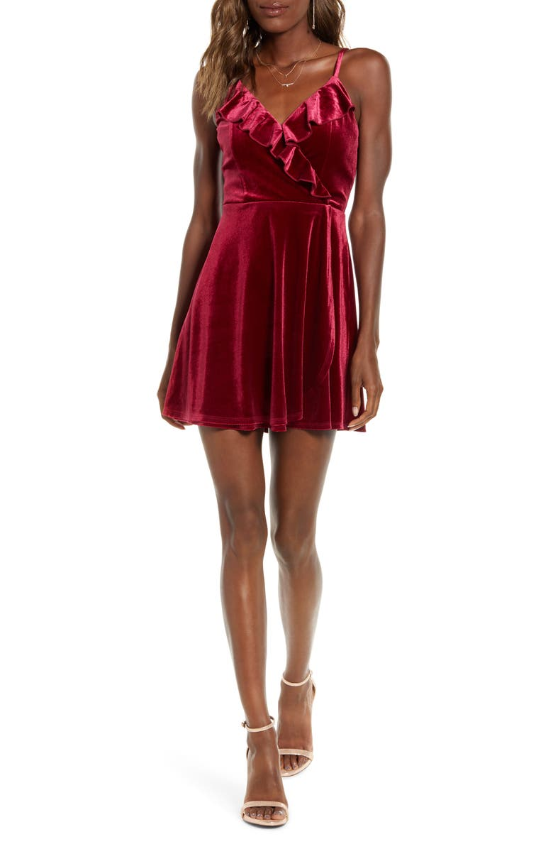 SPEECHLESS Velvet Ruffle Trim Slip Minidress, Main, color, 930