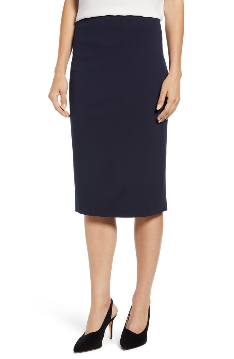 VINCE CAMUTO Ponte Midi Skirt, Main, color, CLASSIC NAVY