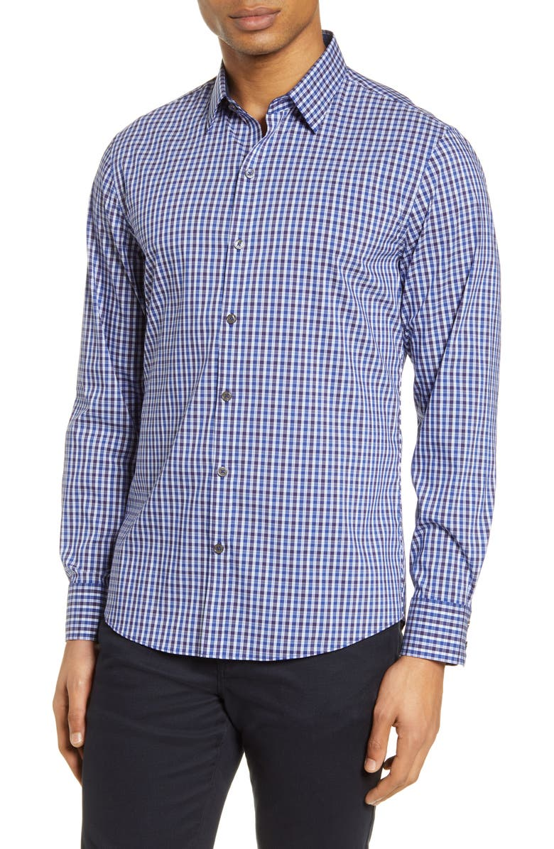 ZACHARY PRELL Classic Fit Check Button-Up Shirt, Main, color, BLUE