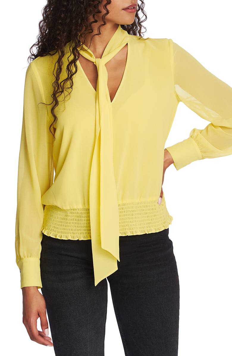 1.STATE Tie Neck Smocked Waist Blouse, Main, color, CITRUS LEMON