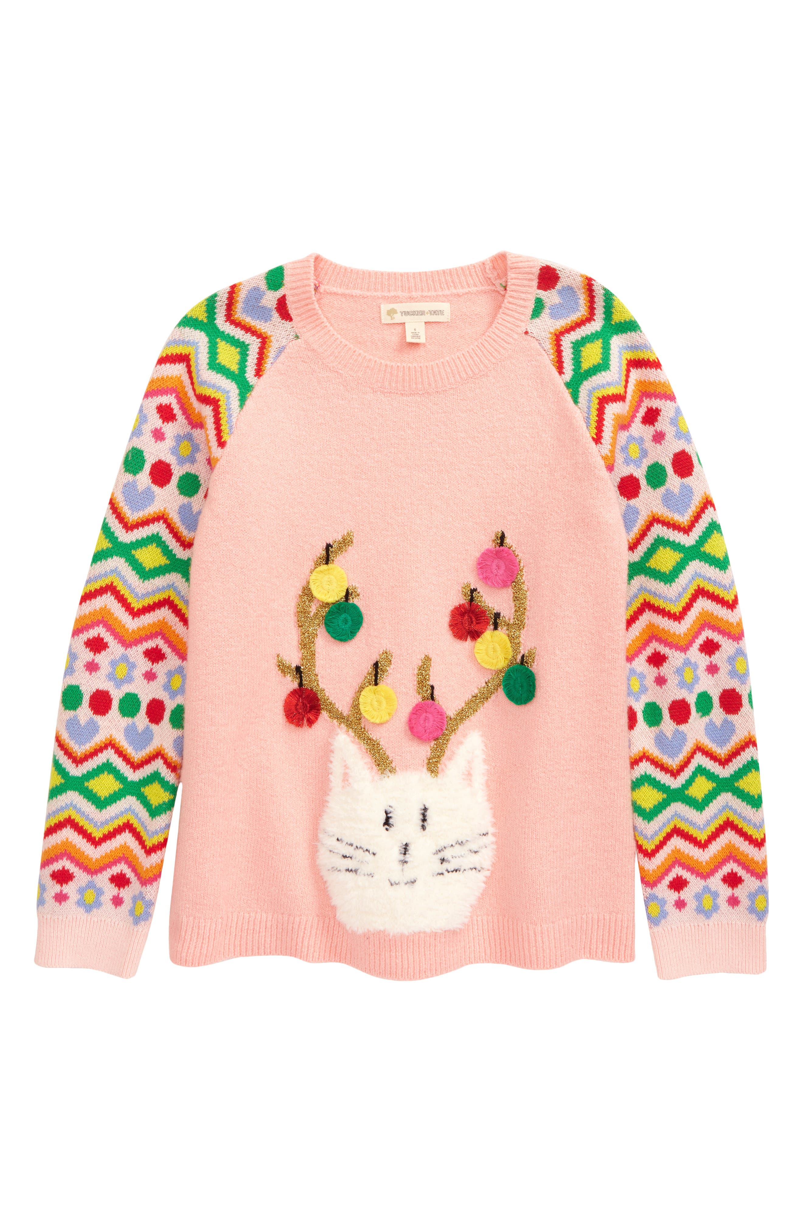 Style her in this adorable, festive sweater designed with colorful pattern-covered sleeves and a cute cat with ornament-decorated antlers. Style Name: Tucker + Tate Kids\\\' Icon Sweater (Toddler, Little Girl & Big Girl). Style Number: 6080682. Available in stores.