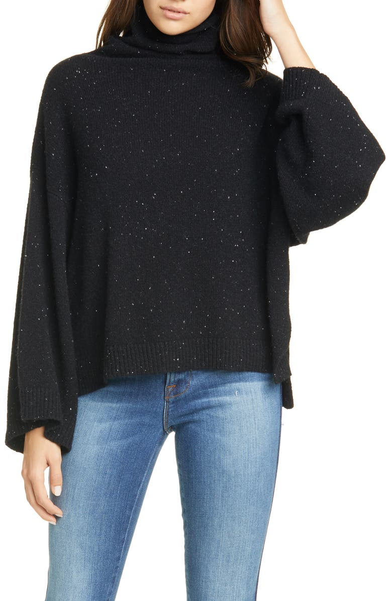 FRAME Funnel Neck Swing Cashmere Sweater, Main, color, NOIR MULTI