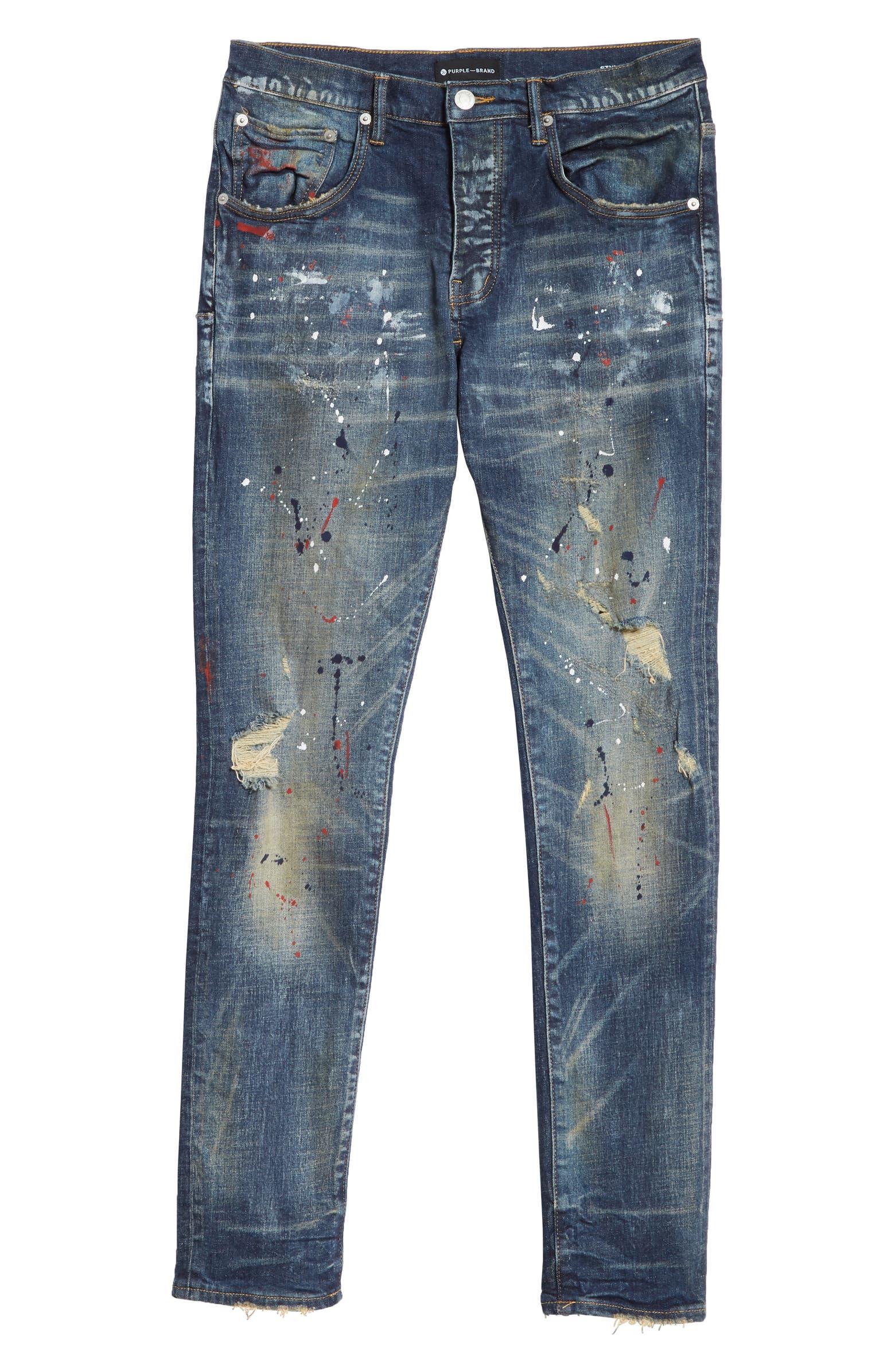 Dirty Distress Paint Spatter Jeans PURPLE
