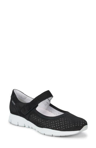 Mephisto Yelina Perforated Mary Jane Sneaker In Navy Nubuck Leather