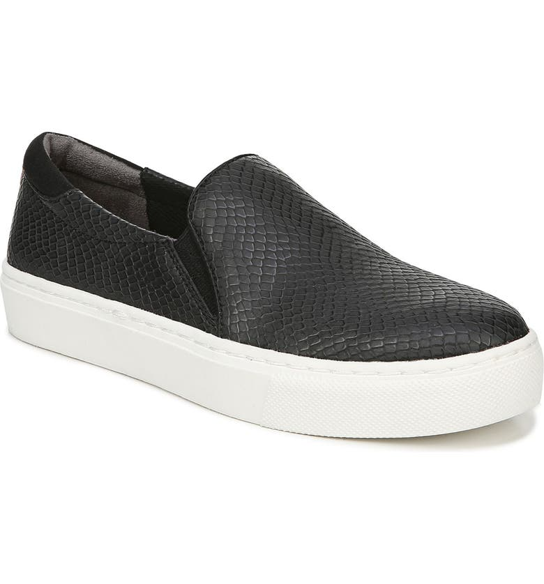 DR. SCHOLL'S New Day Snake Embossed Slip-On Sneaker, Main, color, BLACK SNAKE PRINT FAUX LEATHER